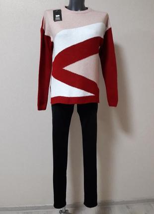 Красивый,яркий,качественный,теплый,30%вареная шерсть,свитер,св...