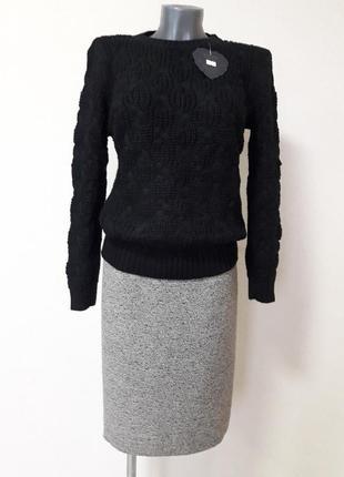 Красивый,теплый,70%шерсти,стильный,элегантный,базовый черный д...