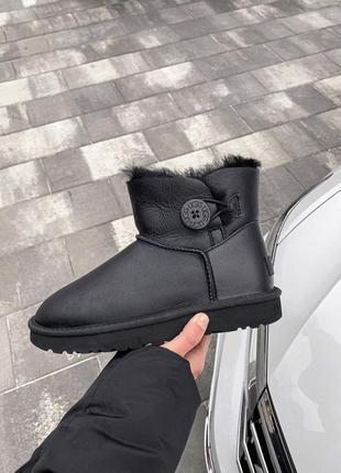 Ugg bailey button black женские кожаные зимние угги/ сапоги/...