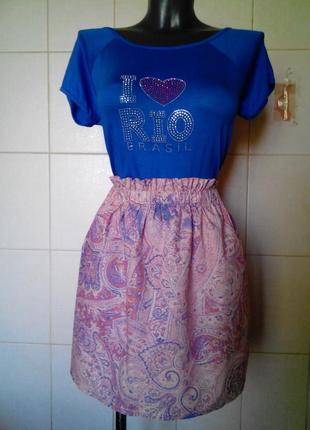 Красивая летняя котоновая юбка h&m,индия,в орнаменты