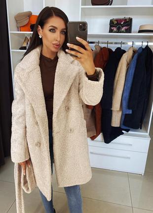Пальто зимнее плюшевая шубка каракуль женская