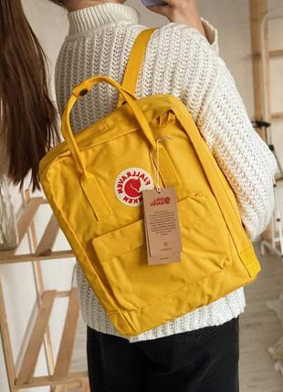 Желтый вместительный рюкзак kanken. оригинальный рюкзак-сумка ...