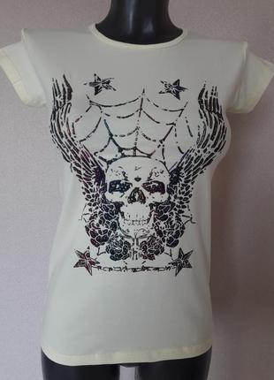 Лимонная футболка с эпатажной накаткой-черепом,one size