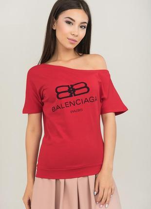 Красивая стрейчевая красная секси-футболка на одно плечо pink ...