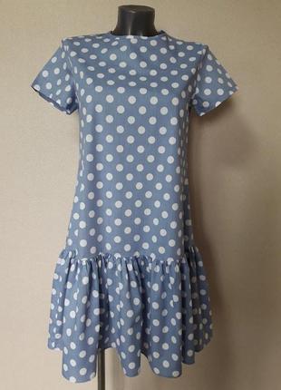 Яркое,эффектное комфортное хлопковое платье с воланом,в крупны...