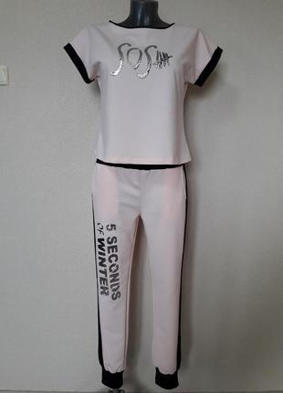 Спорт шик! молодежный эффектный,яркий костюм:футболка и брюки