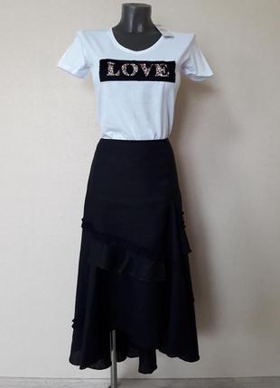 Шикарная,красивая,пышная полульняная юбка асимметрической длины