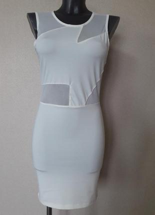 Сексуальное,облегающее,коктейльное молочное платье  с полупроз...