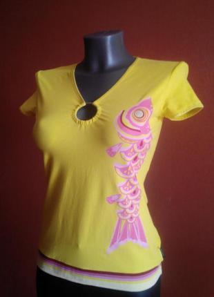 Яркая лимонная футболка dept