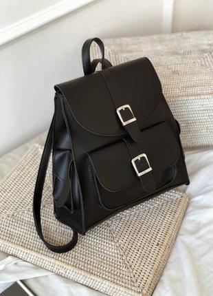 Чёрный рюкзак с карманами . городской рюкзак-сумка