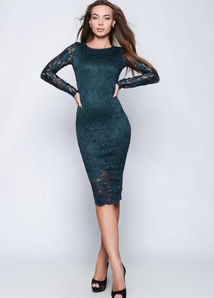 Элегантное сексуальное,вечернее гипюровое изумрудное платье об...