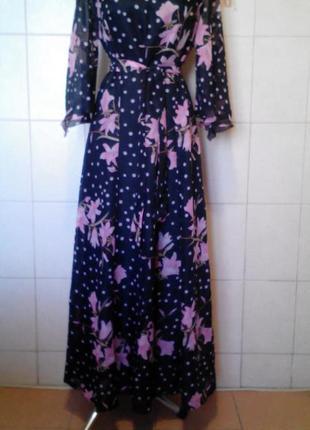 Красивое,нарядное шифоновое платье в пол,под пояс,на р-ры l/xl