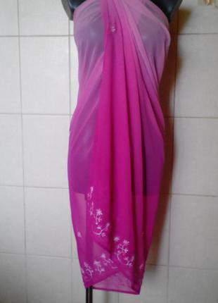 Красивое,эффектное розовое парео-амбре bhs,индия,с вышивкой по...