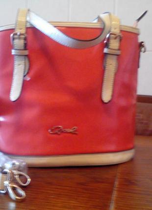 Яркая,эффектная красивая удобная оранжевая сумка gxel из кожзама