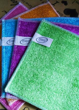Бамбуковые салфетки 5 шт для мытья посуды без химии