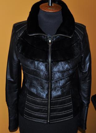 Новая куртка с норкой и кожей натуральной - 100% кожа и норка