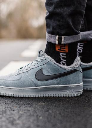 Nike air force winter grey мужские зимние кроссовки на меху се...