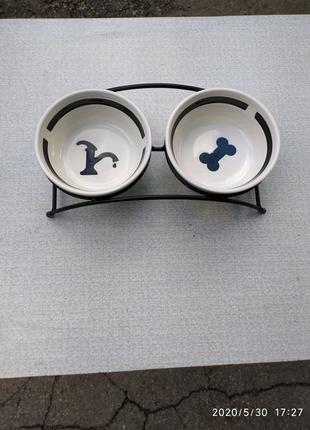 Подставка для собак Eat on Feet с керамическими мисками Trixie