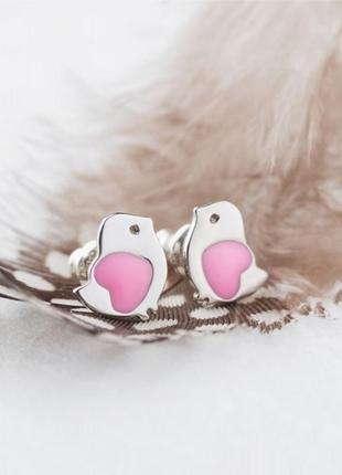Серьги серебро 925 гвоздики птички вс061