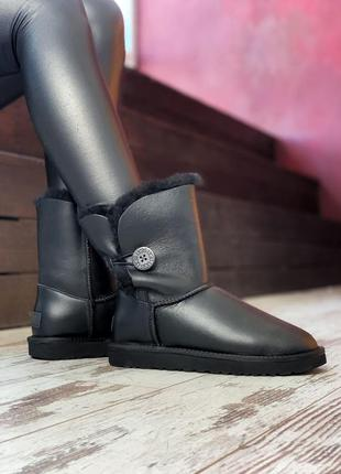 Уги ugg bailey button black leather угги