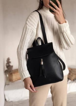 Чёрный вместительный рюкзак трансформер. городской рюкзак-сумка.