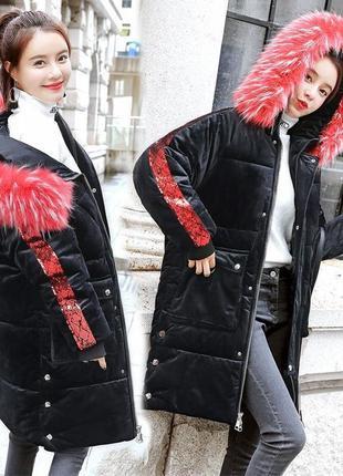 Женский удлиненный зимний бархатный пуховик, парка, куртка с п...