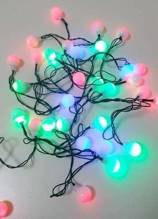 Новогодняя светодиодная гирлянда LED 40P T4 Multi шарики 295802