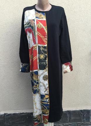Новое платье,трикотаж хлопок,шёлковая отделка принт в стиле ve...