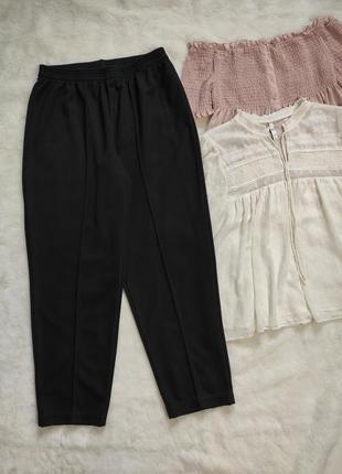 Черные стрейчевые брюки штаны на резинке джоггеры стрейч высок...