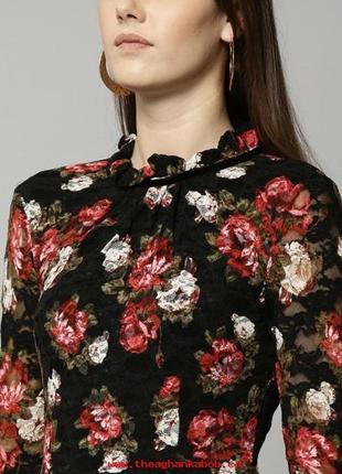 Шикарное кружевное платье в цветы marks&spenser 12 размер
