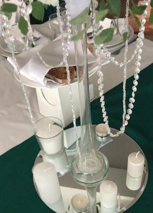 Аренда зеркальных тарелок, ваз, свадебный декор