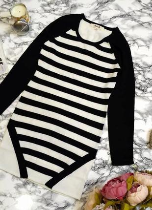 Стильное теплое платье-туника в полоску размер 12 (42-44)