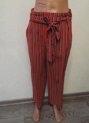 Штаны, брюки широкие, кюлоты свободные оранжевые в полоску 42 ...