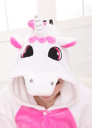Пижама кигуруми единорог бело розовый