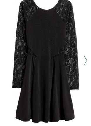 Черное мини платье с кружевными рукавами и спинкой h&m