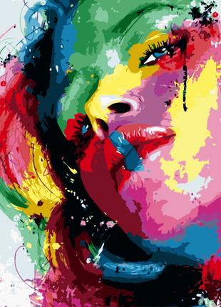 Картина по номерам Яркая девушка, размер 40-50 см.