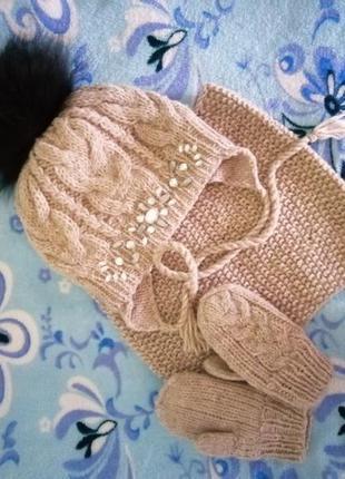 Комплект шапочка хомут и варежки на флисе