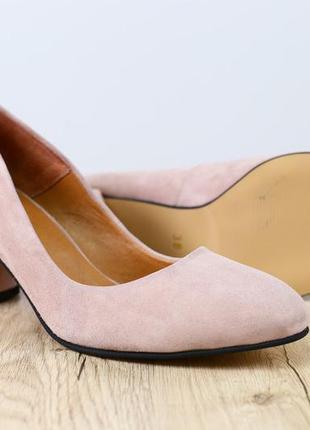Туфли лодочки замшевые на толстом каблуке 6 см