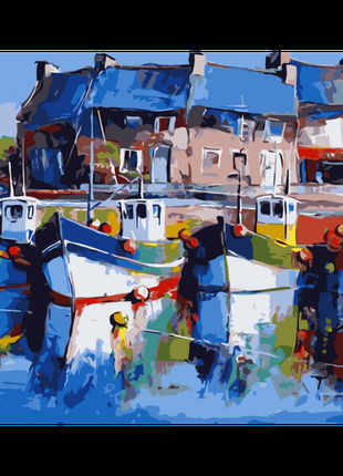 Картина по номерам Яркие лодки, размер 40-50 см.