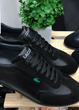 Кроссовки мужские черные кожаные