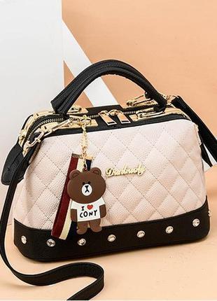 Бежевая женская сумка / сумочка с черными вставками эко кожа