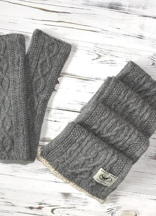 Красивый вязаный комплект {шарф и митенки} avoca nest❤️