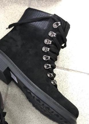 Женские зимние нубуковые ботинки