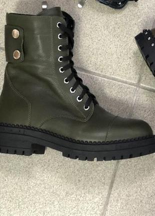 Женские зимние кожаные ботинки, подошва без пуклей