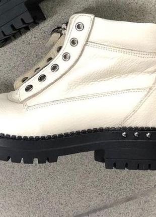 Женские демисезонные кожаные ботинки, подошва без пуклей