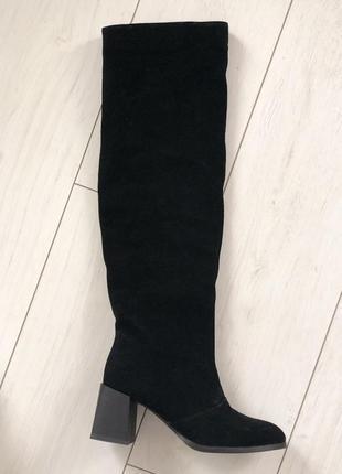 Женские сапоги черные замшевые