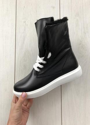 Женские ботинки кожаные черные со шнуровкой