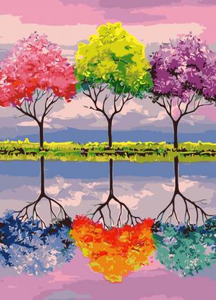 Картина по номерам Деревья ярких мрий, размер 40-50 см.
