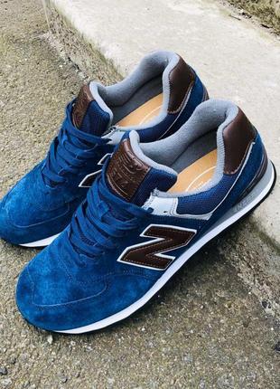 Мужские синие замшевые кроссовки с темно-коричневыми кожаными ...