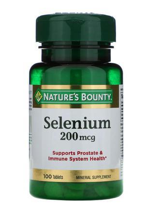 Селен,Nature's Bounty, 200 мкг, 100 таблеток